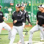 京セラドーム練習見学糸原選手、高山選手、北條選手